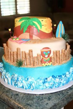 Luau Party Cake made with frosting and fondant.
