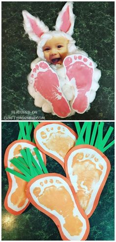 Easter footprint bunny photo keepsake craft for the kids to make! Also find footprint carrots for an easter art project. Easter footprint bunny photo keepsake craft for the kids to make! Also find footprint carrots for an easter art project. Easter Crafts For Toddlers, Daycare Crafts, Bunny Crafts, Easter Crafts For Kids, Crafts To Do, Easter Ideas, Easter Projects, Garden Projects, Craft Projects