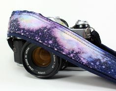 Galaxy No.73 Camera Strap , Hand painted, dSLR or SLR, Cosmos, Nebula, OOAK. $39.00, via Etsy.