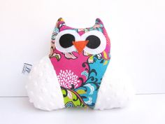 Small Owl , Plush Toy , Soft Doll , child gift , children , Stuffed Animal , baby shower, handmade pillow , child gift , pink floral pattern $23.00 USD