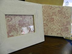 Plaque painted in whitewash paint and covered in the same French wallpaper