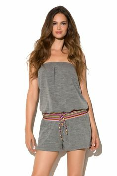 Lucky Brand Women's Primitive Punch Romper Swim Cover Up Heather Grey XS/S Lucky Brand