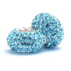 Set of 2 - Bella Fascini Aqua Blue Crystal Pave Sparkle Bling - Solid .925 Sterling Silver Core European Charm Bead Made with Authentic Swarovski Crystals - Compatible Brand Bracelets : Authentic Pandora, Chamilia, Moress, Troll, Ohm, Zable, Biagi, Kay's Charmed Memories, Kohl's, Persona & more! Bella Fascini Beads,http://www.amazon.com/dp/B005L4OYJ8/ref=cm_sw_r_pi_dp_Htc2sb193Z2VCNA0