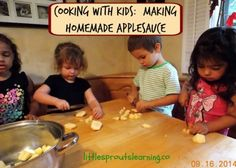 Homemade apple sauce:  Cooking with kids.
