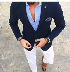 Men's Suits - Mucielee Blazer Masculino Slim Fit Mens Tuxedo Cheap Mans Suit Latest Coat Pant Designs Costume Homme 2 Pieces (Jacket+Pants - Girl Power Pack Traje Casual, Costume En Lin, Costume Blanc, Stylish Men, Men Casual, White Casual, Smart Casual Menswear, Blazer Outfits Men, Blue Blazer Outfit Men