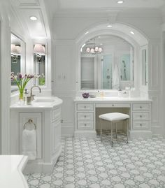 All white bathroom with gorgeous tile floor   white home decor   traditional home decor