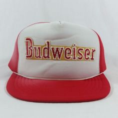 Items similar to Budweiser Beer Trucker Hat Red White Mesh Embroidered Snapback  Cap VTG Damage on Etsy c628daa9dd44