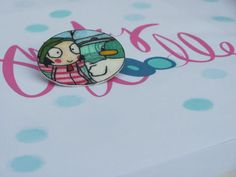 Hand drawn sarah and duck brooch