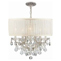 Crystorama Brentwood 4415 Chandelier Antique White - 4415-CH-SAW-CLM