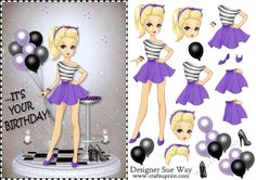 A pretty card front, or large topper with a high fashion girl holding a big bunch of purple & black balloons to match her outfit. With killer heeled shoes at her feet. Easy to cut out step by step layers complete this lovely girly card.