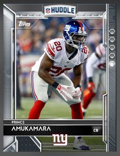 Prince Amukamara New York Giants Base Card 2016 Topps HUDDLE