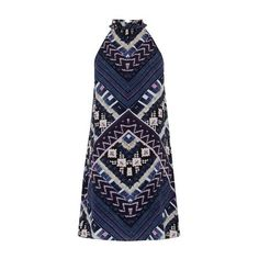 Warehouse Patchwork Print Halter Dress, Multi ($40) ❤ liked on Polyvore featuring dresses, halter tops, long-sleeve mini dress, blue mini dress, halter top maxi dress and blue halter dress