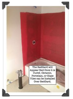 How to prepare a watertight wall using RedGard when tiling a shower/tub - Bathroom 02 Cheap Bathroom Remodel, Master Bath Remodel, Shower Remodel, Bathtub Walls, Bathtub Tile, Bathroom Red, Small Bathroom, Red Bathrooms, Bathroom Ideas