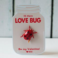Printable Love Bug kids valentine