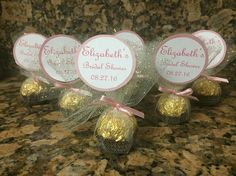 Bridal Shower Ferrero Rocher Favors Pink/Gold Theme Teal Bridal Showers, Bridal Shower Presents, Unique Bridal Shower, 21st Birthday Decorations, Bridal Shower Decorations, Bridal Shower Favors, Gold Wedding Favors, Wedding Ideas, Quinceanera Favors