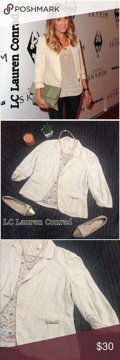 LC Lauren Conrad Cream Cotton Blazer 3/4 sleeve Like new, only worn once. Has a great casual and dressy look all in one. It can be paired with any color or clothing piece. One button closure. I have a pair of size 7 shoes that perfectly match it!! In pic with blazer LC Lauren Conrad Jackets & Coats Blazers