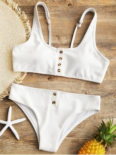 1d039577c3 Up to 80% OFF! Padded Ribbed Texture Buttons Bikini Set.  Zaful