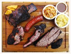 Back Door Barbecue in Oklahoma City serves up a unique combination of meats and sides. Find everything from spare ribs and creamed corn to ginger-jalapeno smoked sirloin and fried onions at this delicious restaurant. Austin Texas, Texas Bbq, Cajun Recipes, Italian Recipes, Bbq City, Smokehouse Bbq, Bbq Menu, Pub Food, Food Food