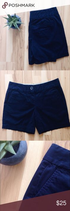 """Ann Taylor LOFT Mid-Rise Navy """"Riviera"""" Shorts Zip fly with button closure. Belt loops. Front slash pockets. Mid-rise. 6"""" seam. 100% cotton. Measures approximately 14"""" across waist, laid flat. Ann Taylor Shorts"""