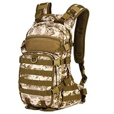 Huntvp 25L Tactical MOLLE Assault Military Backpack Rucksack Sport Casual Outdoor Gear for Hunting Trekking Travel Cycling Camping with Hydration Bladder Pocket >>> Read more reviews of the product by visiting the link on the image.