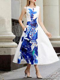 Blue Printed/Dyed Knitting Maxi Dress