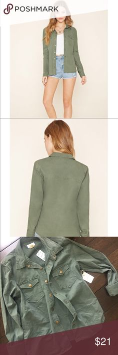 Forever 21 •Snap-Button Cotton Jacket in Olive Forever 21 .  Snap-Button Cotton Jacket in Olive. NWT, never worn, size small.  Excellent Condition.  Reasonable offers welcomed. Forever 21 Jackets & Coats