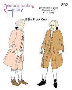 "<p> Reconstructing History Pattern #RH802 - Men's 18th century Frock Coat. Fits chests 34""-54"". All sizes included in one envelope.</p>"