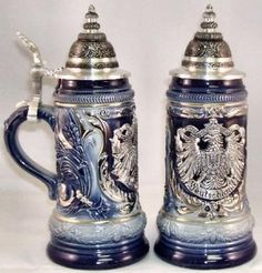 2010 Pewter Eagle Crest Blue LE German Beer Stein