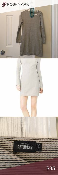"""Kate Spade Saturday dress Cute Kate Spade Saturday dress. Long sleeves, asymmetrical neck line. 100% cotton, machine wash cold. Only worn a few times. Approximately 33.5"""" from shoulder seam to bottom hem. It looks blue/gray to me kate spade Dresses"""