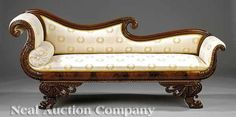 A Fine American Classical Mahogany Grecian Sofa , early c., attributed to Anthony Quervelle, Philadelphia, the s. Wood Bed Design, Teak Wood Furniture, Wallpaper Furniture, French Furniture Design, Sofa, Wooden Sofa Designs, Victorian Furniture, Vintage Sofa, Living Room Sofa Design