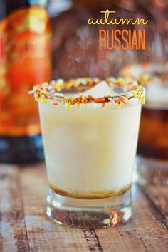 Use Kahlúa's Limited Edition Pumpkin Spice to make these Autumn Russians - it's like pumpkin pie in a glass! Ingredients      1 part pumpkin spice Kahlúa     2 parts vodka     1 part heavy cream     sprinkles for rimming, optional  Instructions      Rim glass with sprinkles, if desired. Fill a rocks glass with ice. Pour in Kahlúa, vodka, and heavy cream over ice and stir.