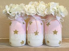 Baby Shower Mason Jars, Twinkle Twinkle Little Star, Painted Mason Jars, Nursery Decor, Girl Baby Shower, Pink and Gold Centerpieces, Rustic by MyHeartByHand on Etsy