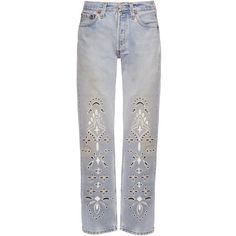 Bliss and Mischief Eyelet Bandana straight-leg jeans (670 CAD) ❤ liked on Polyvore featuring jeans, bottoms, blue multi, straight leg jeans, blue jeans, cowgirl jeans, cowboy jeans and western jeans