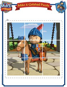 Mike the Knight picture puzzle! Going in our Mike the Knight Quiet Time kit! Birthday Games, 3rd Birthday Parties, Birthday Ideas, Projects For Kids, Crafts For Kids, Mike The Knight, Teaching Kids, Kindergarten Teachers, Knight Party