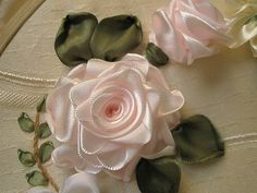 ribbon embroidery - roses, via Flickr.