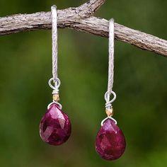 Gold accent ruby dangle earrings, 'Effortless Glam' - Gold Accent Fair Trade Thai Ruby Earrings