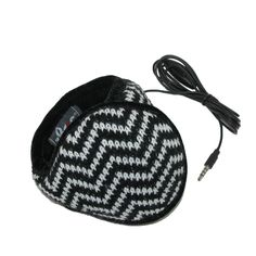 Knit chevron print is on the exterior of this ear warmer and soft fleece lines the interior. The padded band is adjustable for one size fits most and goes around the head so you can wear hats and glasses in comfort. And now you do not have to get your ears cold to listen to music and take calls. Hi-Def speakers are attached to a 60 inch cord that features a button to answer calls and a microphone. The cord is detachable for when you just want basic ear muffs.