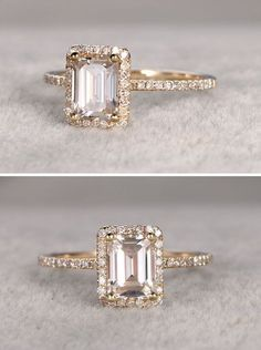 Stunning emerald cut Moissanite engagement ring in gold | See more…