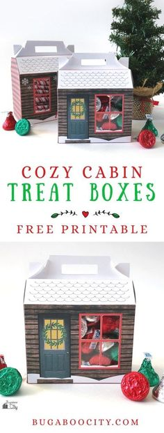 Free Printable Cozy Cabin Treat Boxes Use this free printable, available in two sizes, to create a Cozy Cabin Treat Box. Perfect for holding holiday treats or small gifts! Box Templates Printable Free, Paper Box Template, Printable Crafts, Free Printables, Origami Templates, Christmas Candy Gifts, Christmas Diy, Holiday Treats, Christmas Sewing