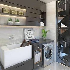 59 Super Ideas for home renovation laundry decor Laundry Shop, Laundry Decor, Small Laundry Rooms, Laundry Room Organization, Laundry Room Design, Interior Design Kitchen, Bathroom Interior, Interior Minimalista, Paint Colors For Living Room