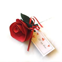 Valentine Rose Single Red Rose with Personalised Message