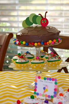 Caterpillar cake and cupcakes