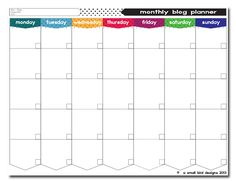Monthly blog planner template - A Small Bird Designs