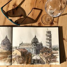 Pisa's Piazza dei Miracoli from the fantastic roof terrace of the Grand Hotel Duomo on Via Santa Maria. #Pisa #sketching #italy #sketchbook #piazzedeimiracoli #tuscany #sketchwalker #archisketcher