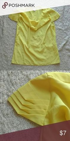 Yellow Silky Top With Sleeve Details Cowl neck. Loops for small waist belt. Cool sleeve detail. Silky polyester. Great for under blazers for work. Merona Tops Blouses