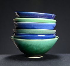 Blue & Green Bowl Set, Hand Thrown Porcelain Pottery, Eclectic, Cereal Bowl, Soup Bowl, Salad Bowl, Ceramic, Serving Bowl | Caldwell Pottery
