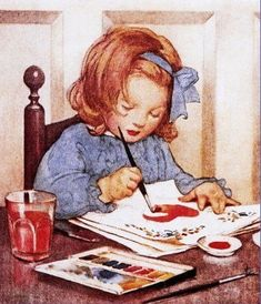 Jessie Willcox Smith | Painting a Valentine