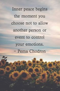 Inner peace begins the moment you choose not to allow another person or event to control your emotions. - Pema Chodron