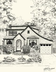 Custom Pen and Ink Architectural Sketch of your House by theinklab