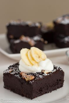 Vegan Black Bean Banana Brownies with Greek Yogurt and bananas